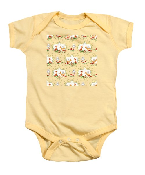 Woodland Fairy Tale -  Warm Grey Sweet Animals Fox Deer Rabbit Owl - Half Drop Repeat Baby Onesie by Audrey Jeanne Roberts