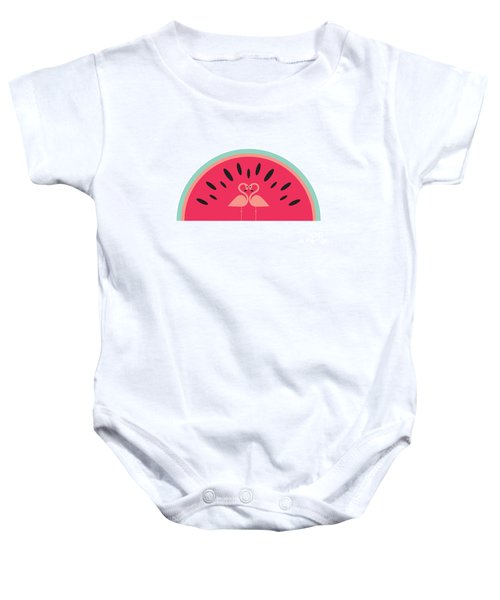 Flamingo Watermelon Baby Onesie by Susan Claire