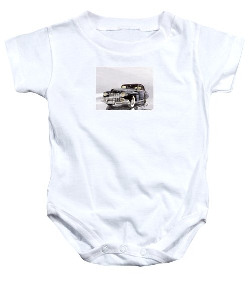 1946 Lincoln Continental Convertible Foggy Reflection Baby Onesie by Jack Pumphrey