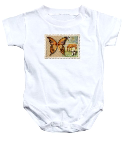 7 Cent Butterfly Stamp Baby Onesie by Amy Kirkpatrick