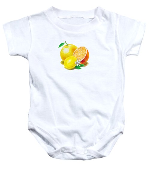 A Happy Citrus Bunch Grapefruit Lemon Orange Baby Onesie by Irina Sztukowski