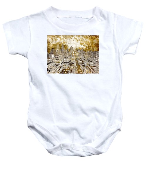 Austin Texas Abstract Panorama 6 Baby Onesie by Bekim Art