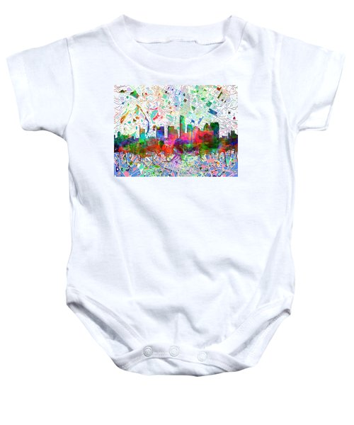 Austin Texas Abstract Panorama 7 Baby Onesie by Bekim Art