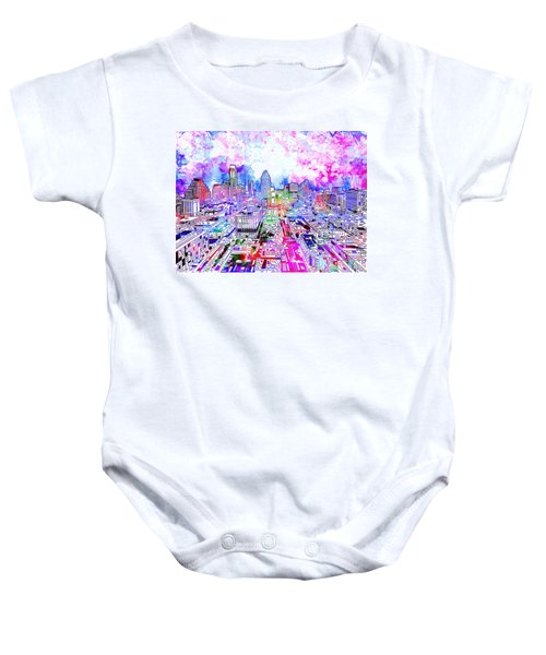 Austin Texas Watercolor Panorama Baby Onesie by Bekim Art