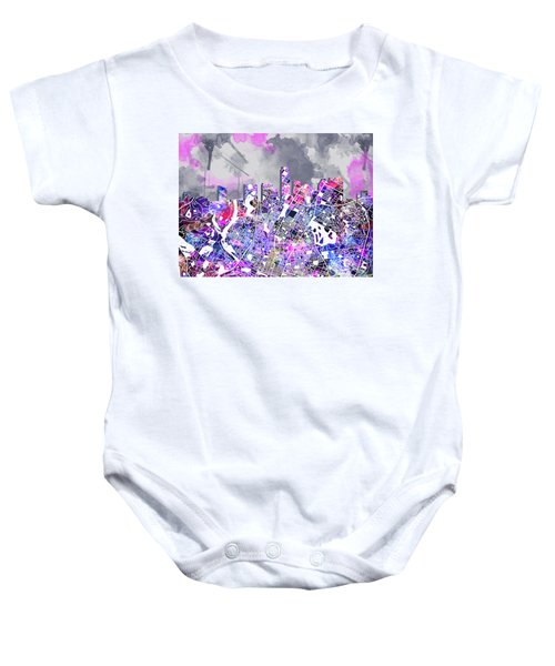 Austin Texas Watercolor Panorama2 Baby Onesie by Bekim Art
