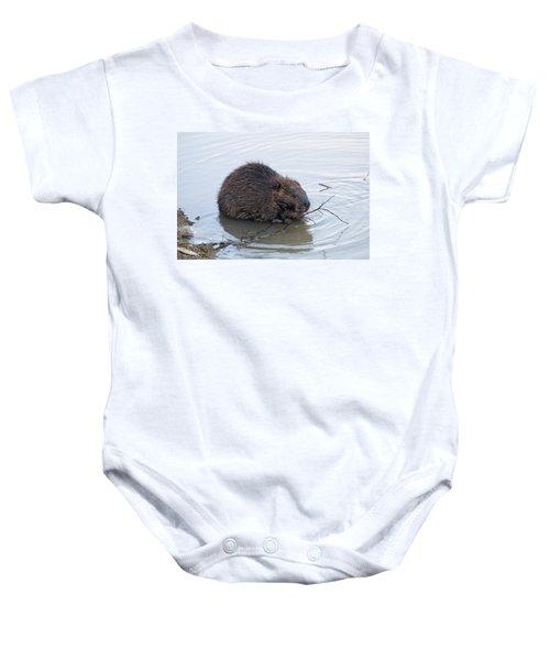Beaver Chewing On Twig Baby Onesie by Chris Flees