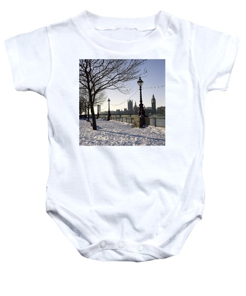 Big Ben Westminster Abbey And Houses Of Parliament In The Snow Baby Onesie by Robert Hallmann