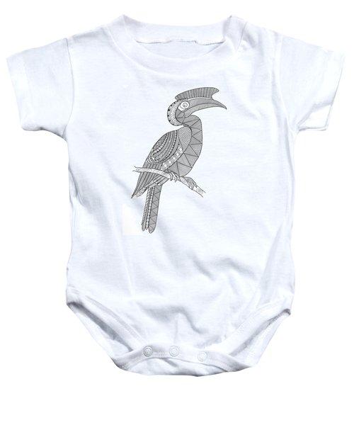 Bird Hornbill Baby Onesie by Neeti Goswami