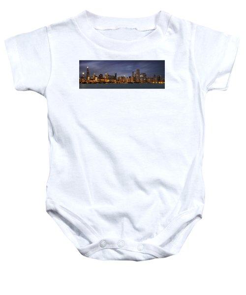 Chicago Skyline At Night Color Panoramic Baby Onesie by Adam Romanowicz