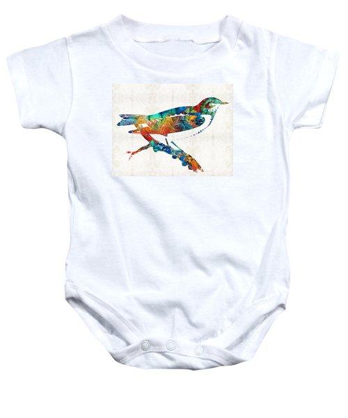 Colorful Bird Art - Sweet Song - By Sharon Cummings Baby Onesie by Sharon Cummings