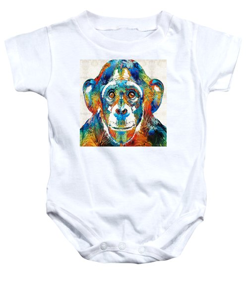 Colorful Chimp Art - Monkey Business - By Sharon Cummings Baby Onesie by Sharon Cummings