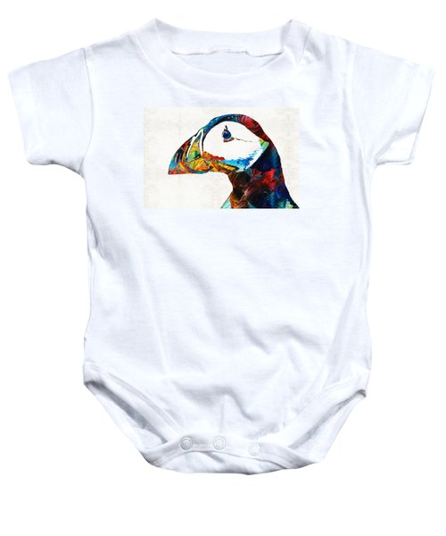 Colorful Puffin Art By Sharon Cummings Baby Onesie by Sharon Cummings
