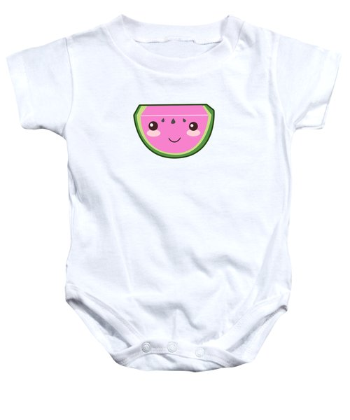 Cute Watermelon Illustration Baby Onesie by Pati Photography