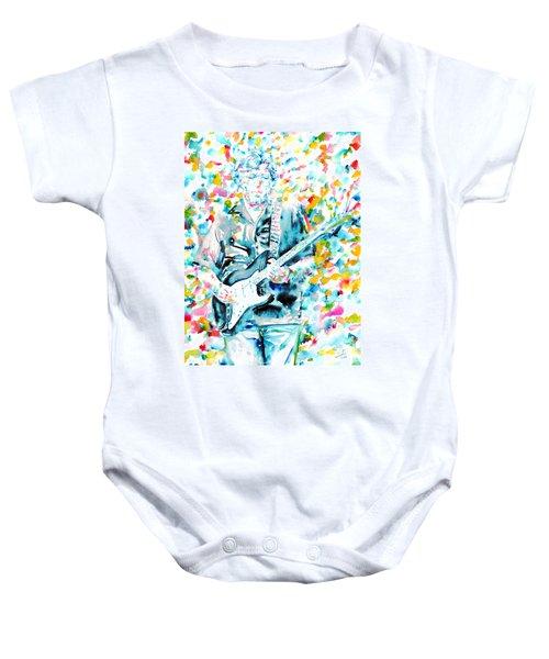 Eric Clapton - Watercolor Portrait Baby Onesie by Fabrizio Cassetta