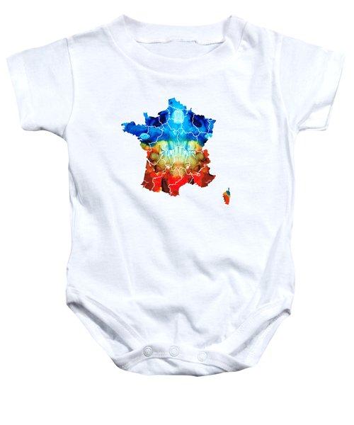 France - European Map By Sharon Cummings Baby Onesie by Sharon Cummings