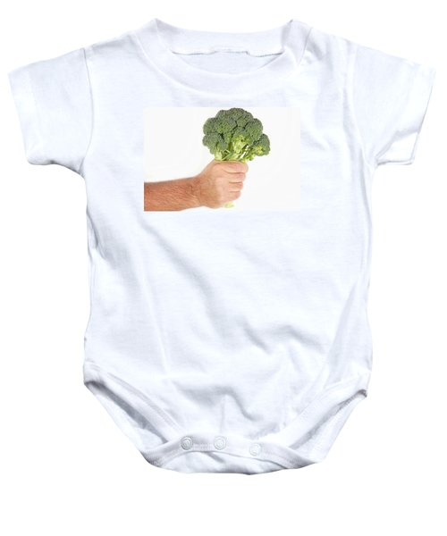 Hand Holding Broccoli Baby Onesie by James BO  Insogna