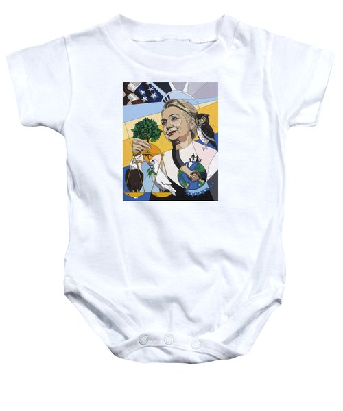In Honor Of Hillary Clinton Baby Onesie by Konni Jensen