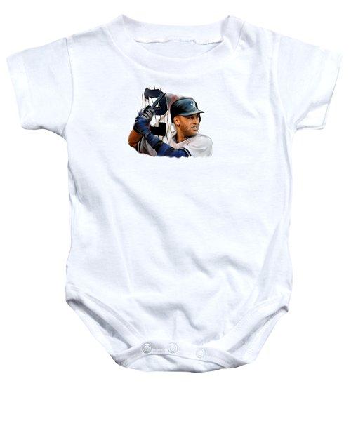 Jeter II  Derek Jeter Baby Onesie by Iconic Images Art Gallery David Pucciarelli