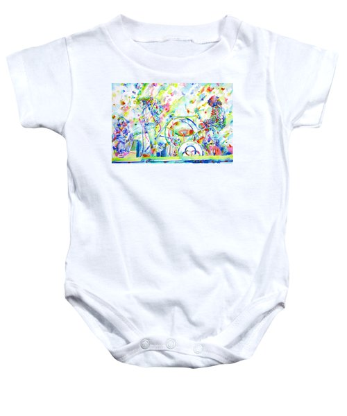 Led Zeppelin Live Concert - Watercolor Painting Baby Onesie by Fabrizio Cassetta
