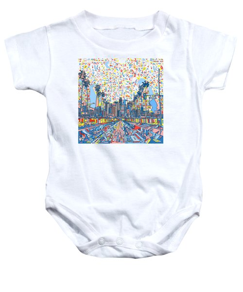 Los Angeles Skyline Abstract 3 Baby Onesie by Bekim Art