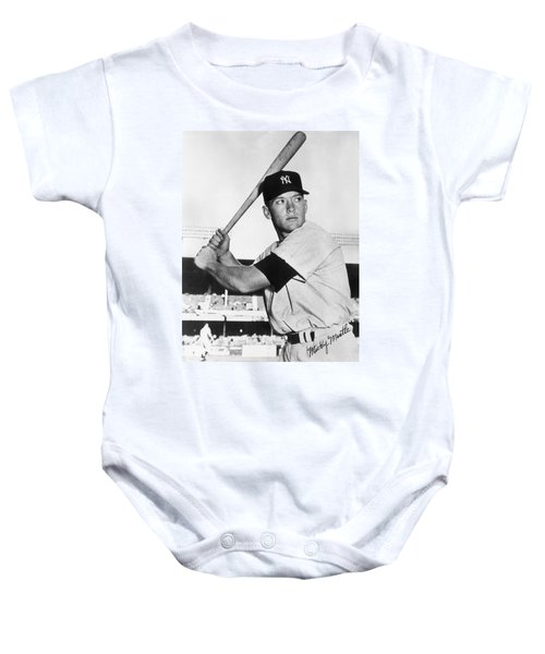 Mickey Mantle At-bat Baby Onesie by Gianfranco Weiss
