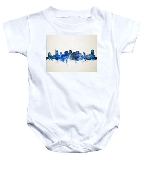 Nashville Skyline Watercolor 11 Baby Onesie by Bekim Art