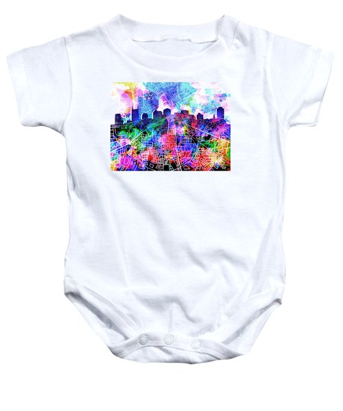 Nashville Skyline Watercolor 5 Baby Onesie by Bekim Art