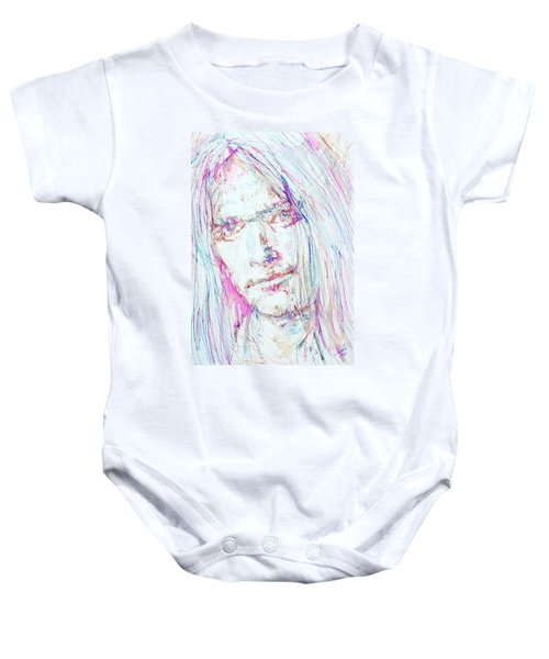 Neil Young - Colored Pens Portrait Baby Onesie by Fabrizio Cassetta