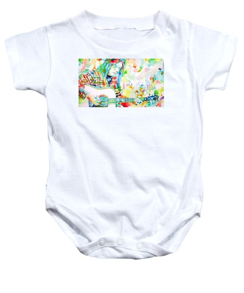 Neil Young Playing The Guitar - Watercolor Portrait.1 Baby Onesie by Fabrizio Cassetta