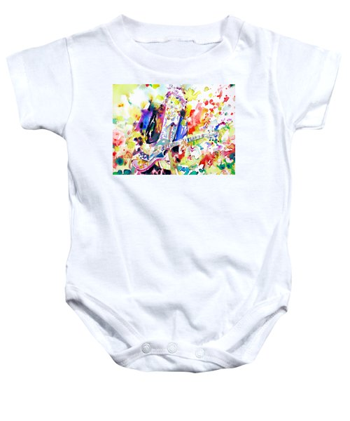 Neil Young Playing The Guitar - Watercolor Portrait.2 Baby Onesie by Fabrizio Cassetta