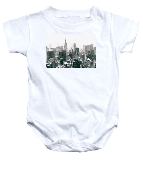New York City - Snow-covered Skyline Baby Onesie by Vivienne Gucwa
