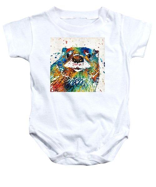 Otter Art - Ottertude - By Sharon Cummings Baby Onesie by Sharon Cummings