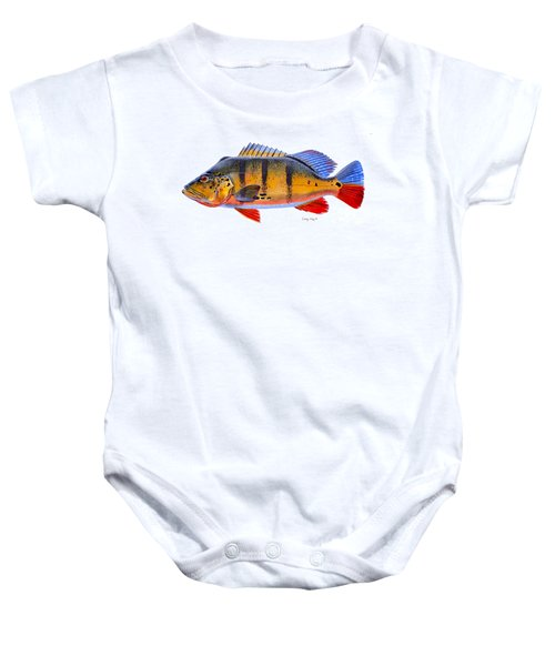 Peacock Bass Baby Onesie by Carey Chen