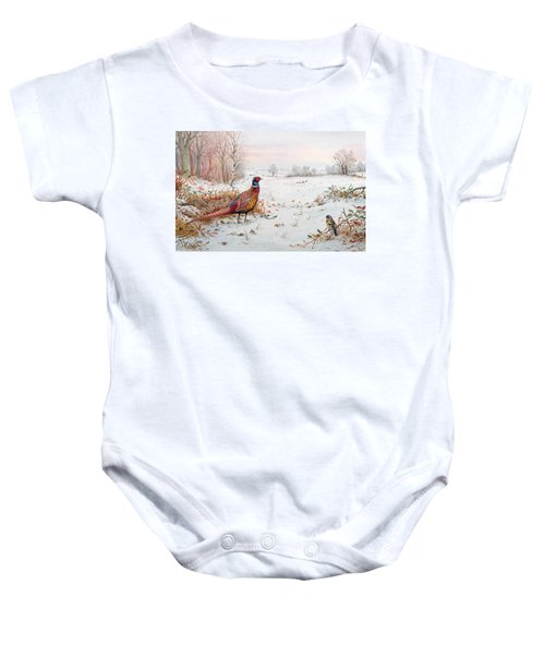 Pheasant And Bramblefinch In The Snow Baby Onesie by Carl Donner