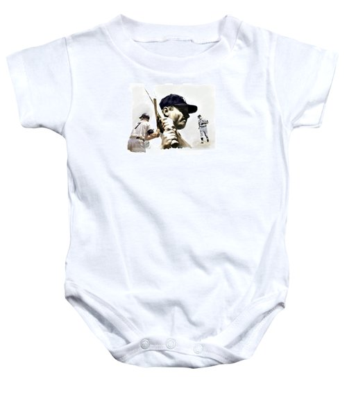 Quality Of Greatness Mickey Mantle Baby Onesie by Iconic Images Art Gallery David Pucciarelli