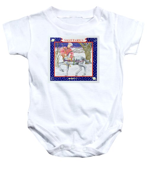 Sagittarius Wc On Paper Baby Onesie by Catherine Bradbury