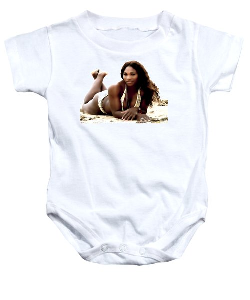 Serena Williams In The Sand Baby Onesie by Brian Reaves