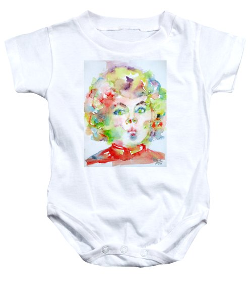 Shirley Temple - Watercolor Portrait.2 Baby Onesie by Fabrizio Cassetta