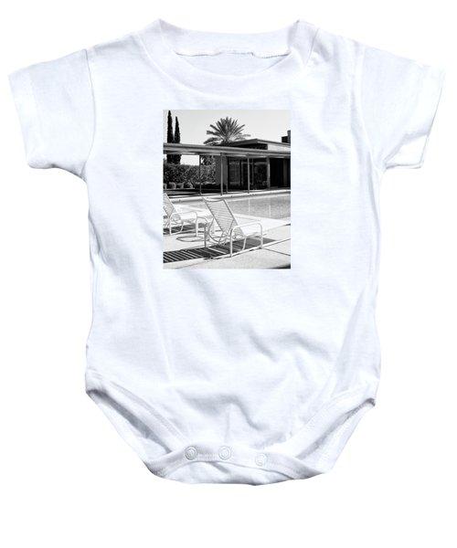 Sinatra Pool Bw Palm Springs Baby Onesie by William Dey