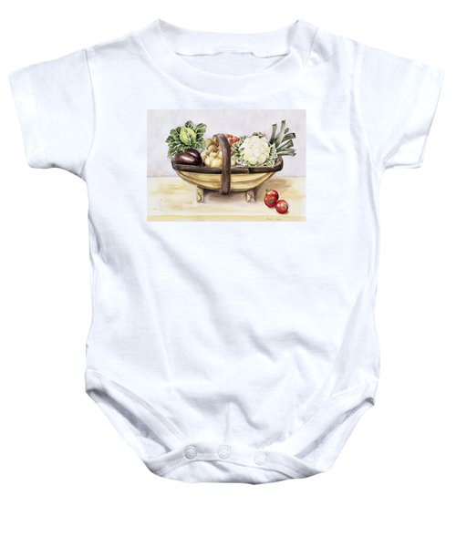Still Life With A Trug Of Vegetables Baby Onesie by Alison Cooper