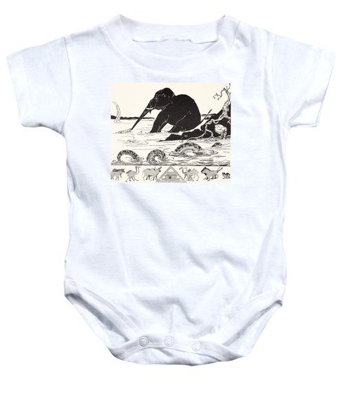 The Elephant's Child Having His Nose Pulled By The Crocodile Baby Onesie by Joseph Rudyard Kipling