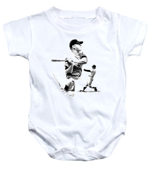 The Mick  Mickey Mantle Baby Onesie by Iconic Images Art Gallery David Pucciarelli