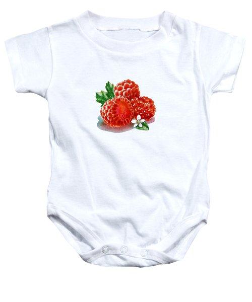 Three Happy Raspberries Baby Onesie by Irina Sztukowski