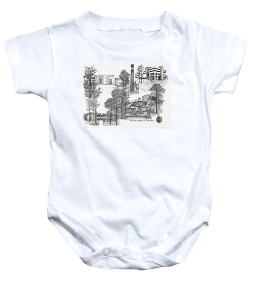 University Of Arkansas Baby Onesie by Liz  Bryant