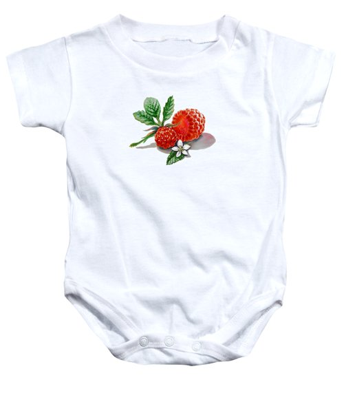 Artz Vitamins A Very Happy Raspberry Baby Onesie by Irina Sztukowski