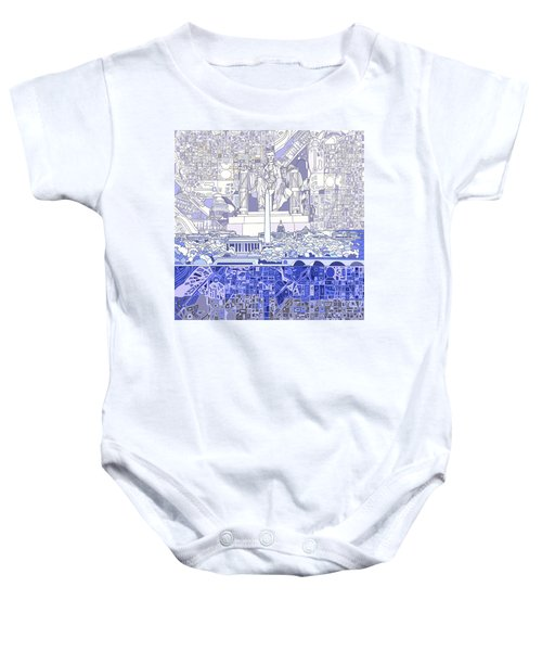 Washington Dc Skyline Abstract 3 Baby Onesie by Bekim Art