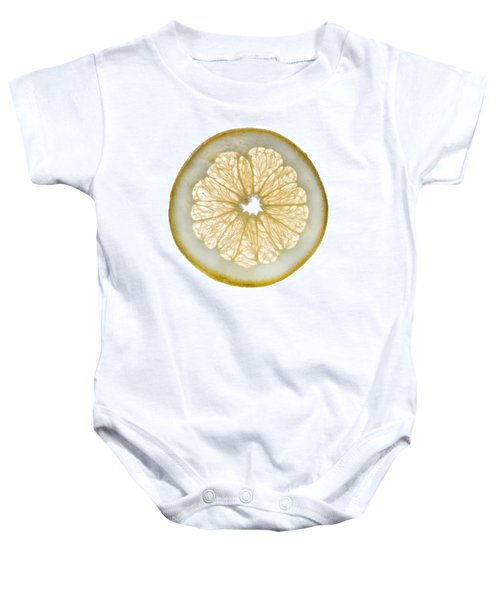 White Grapefruit Slice Baby Onesie by Steve Gadomski