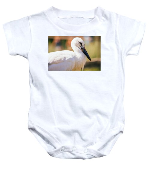 Young Stork Portrait Baby Onesie by Pati Photography