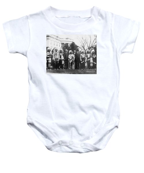 Coolidge With Native Americans Baby Onesie by Photo Researchers