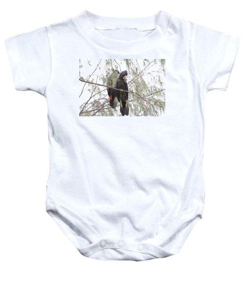 Red Tailed Black Cockatoos Baby Onesie by Douglas Barnard